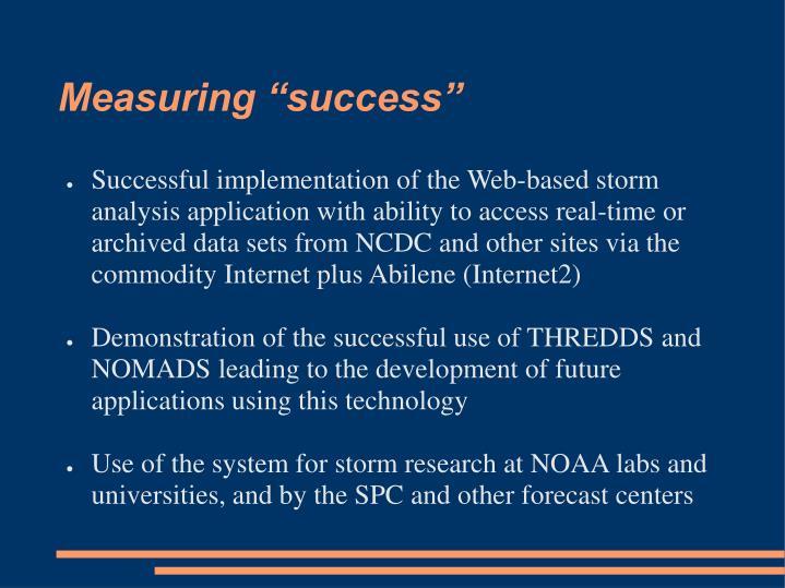 """Measuring """"success"""""""