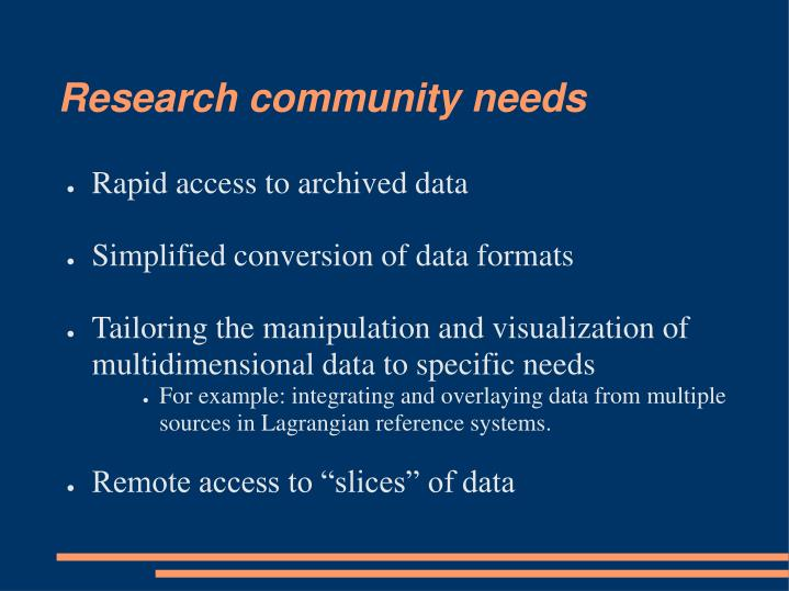 Research community needs