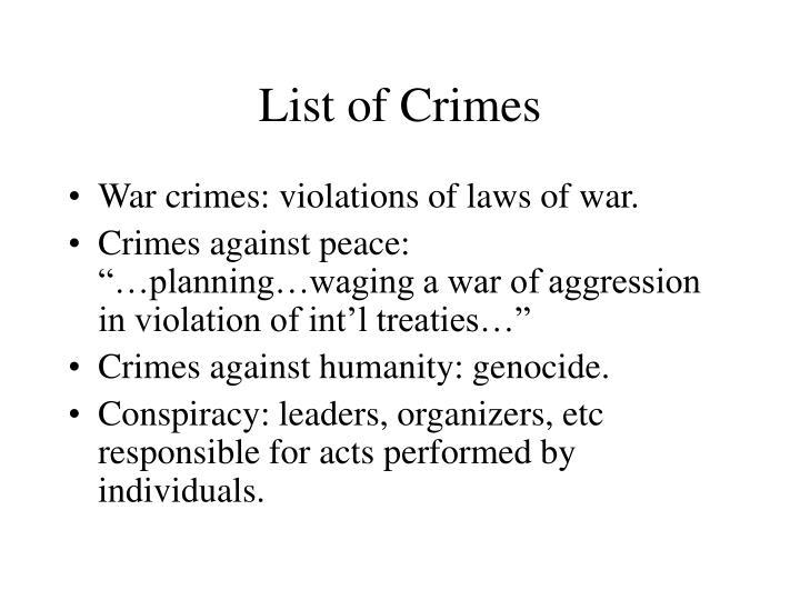List of Crimes
