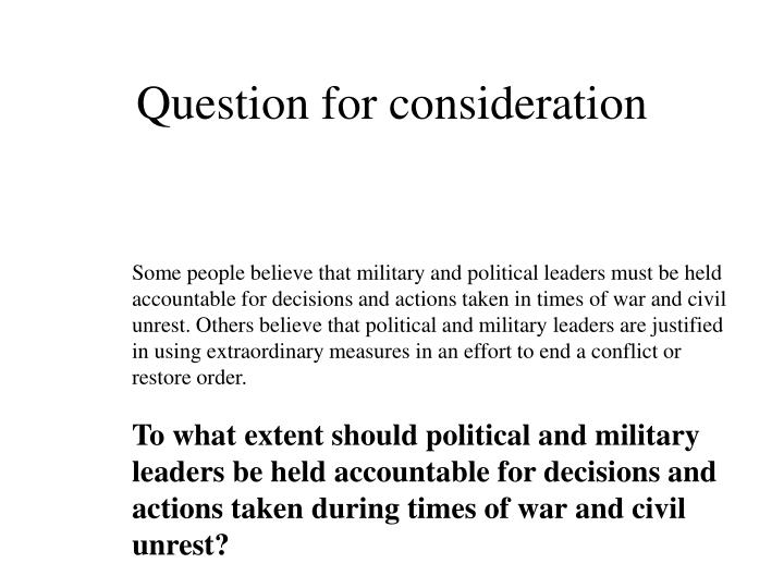 Question for consideration