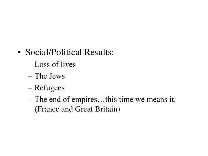 Social/Political Results: