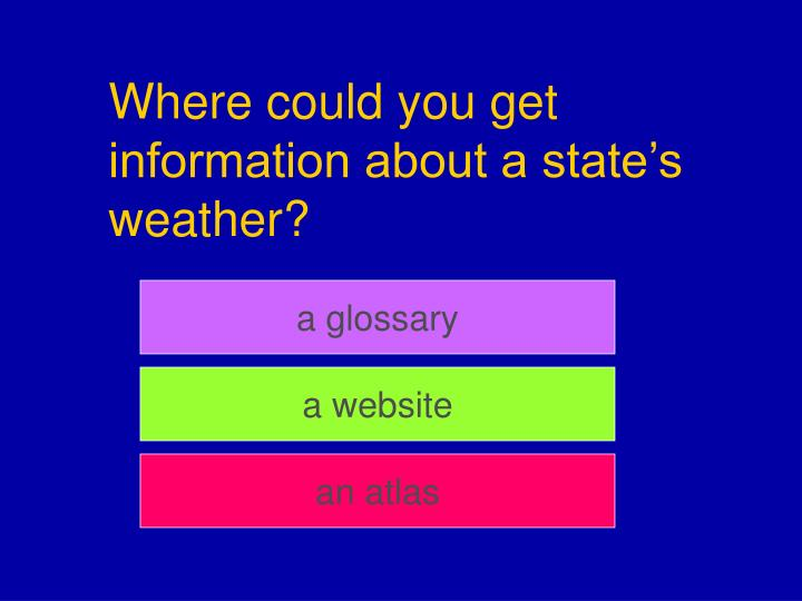 Where could you get information about a state's weather?