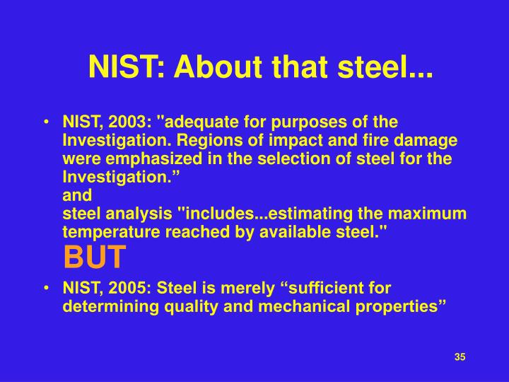 NIST: About that steel...