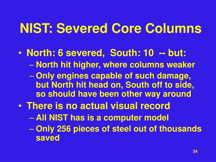 NIST: Severed Core Columns
