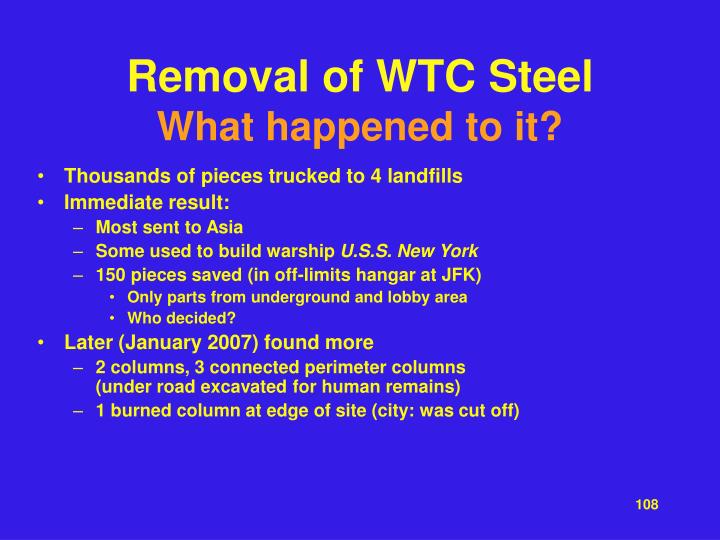 Removal of WTC Steel