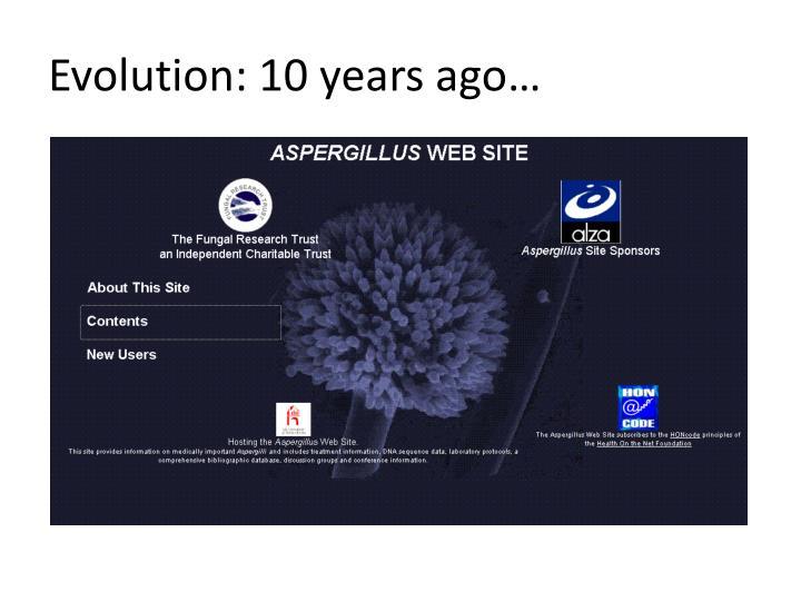 Evolution: 10 years ago…