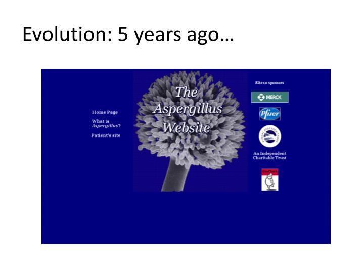 Evolution: 5 years ago…