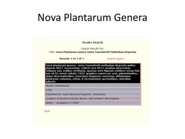 Nova Plantarum Genera