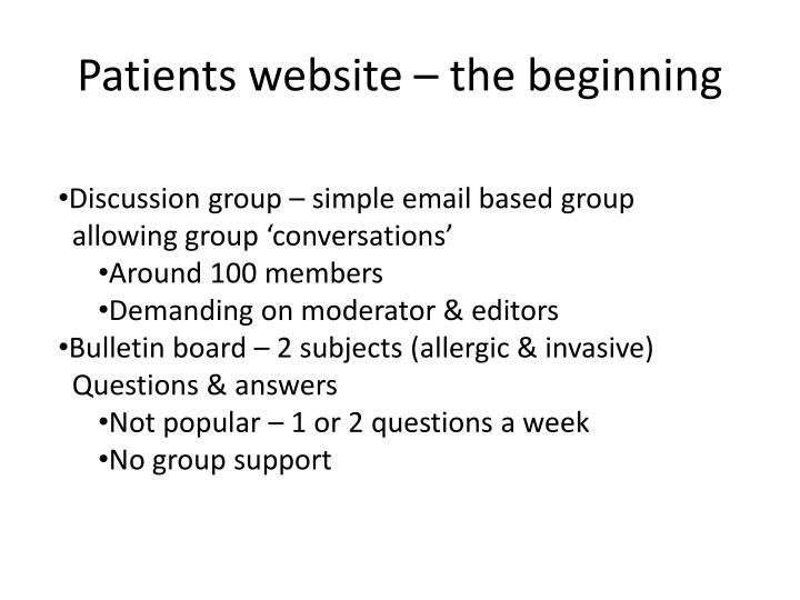 Patients website – the beginning