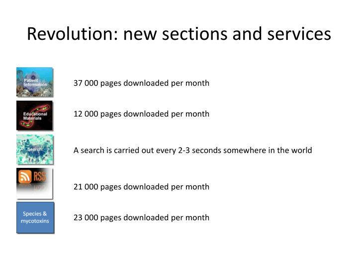 Revolution: new sections and services