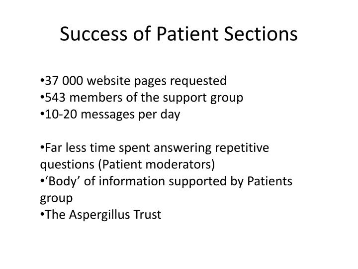 Success of Patient Sections
