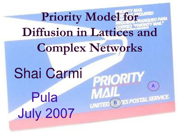 Priority model for diffusion in lattices and complex networks