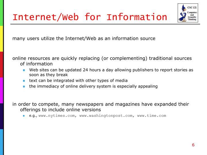 Internet/Web for Information