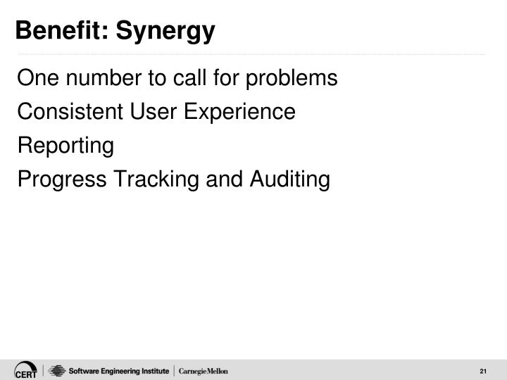 Benefit: Synergy