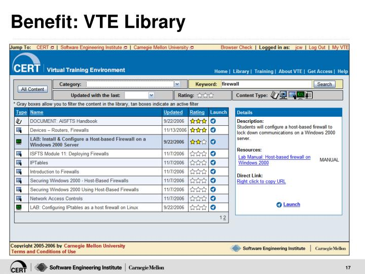 Benefit: VTE Library