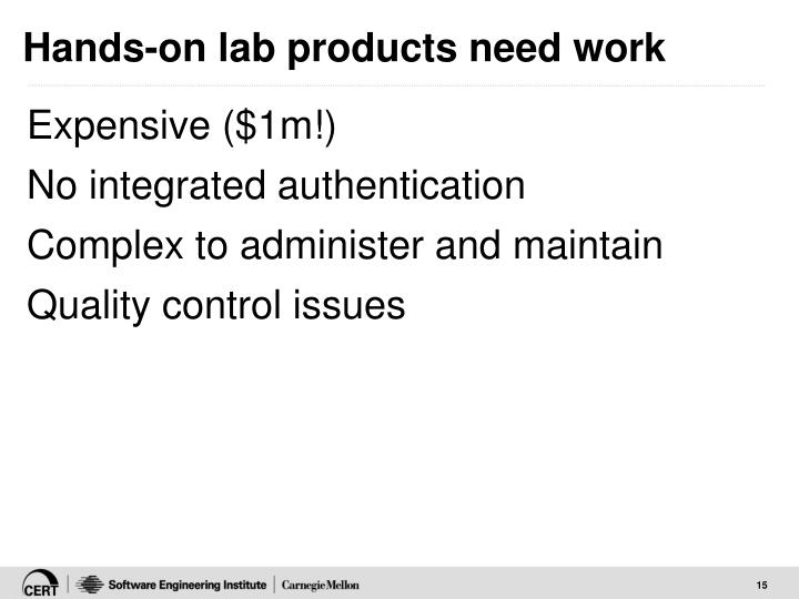 Hands-on lab products need work