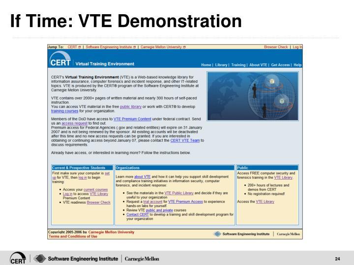 If Time: VTE Demonstration