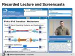 recorded lecture and screencasts