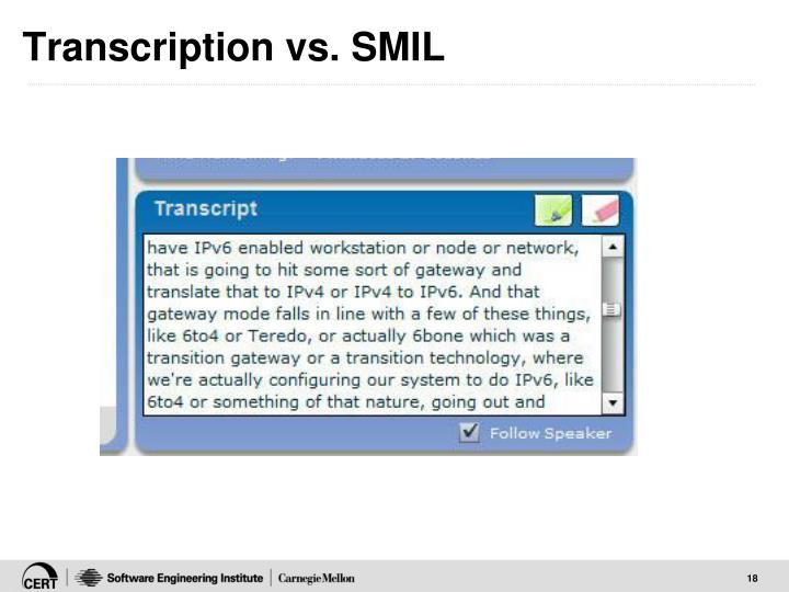 Transcription vs. SMIL