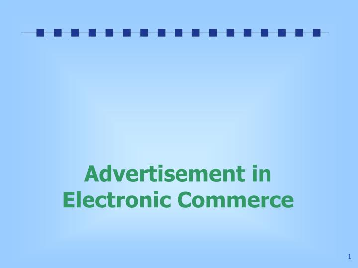 Advertisement in electronic commerce