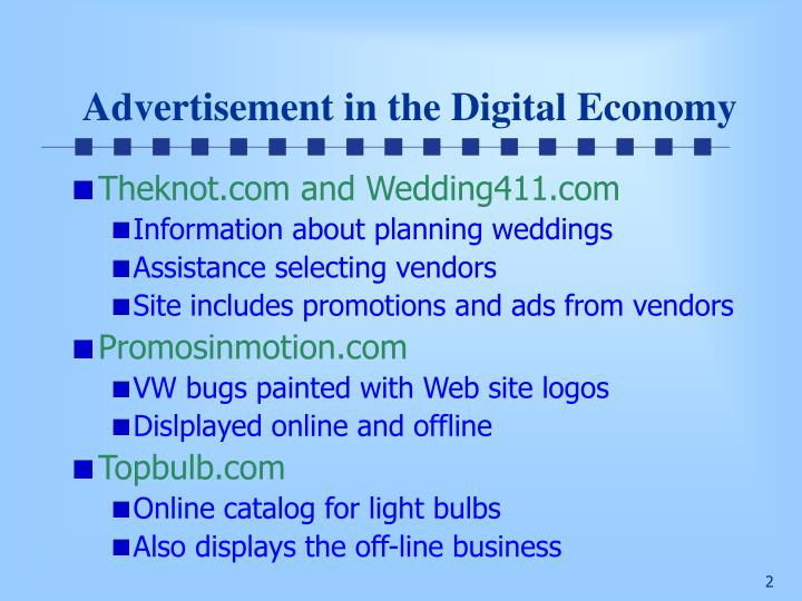 Advertisement in the digital economy