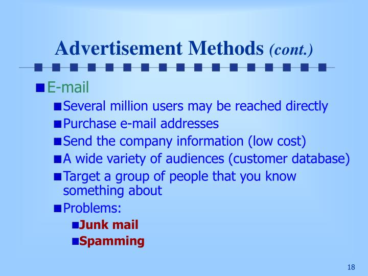 Advertisement Methods
