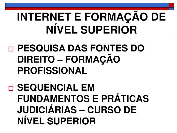 INTERNET E FORMAÇÃO DE NÍVEL SUPERIOR