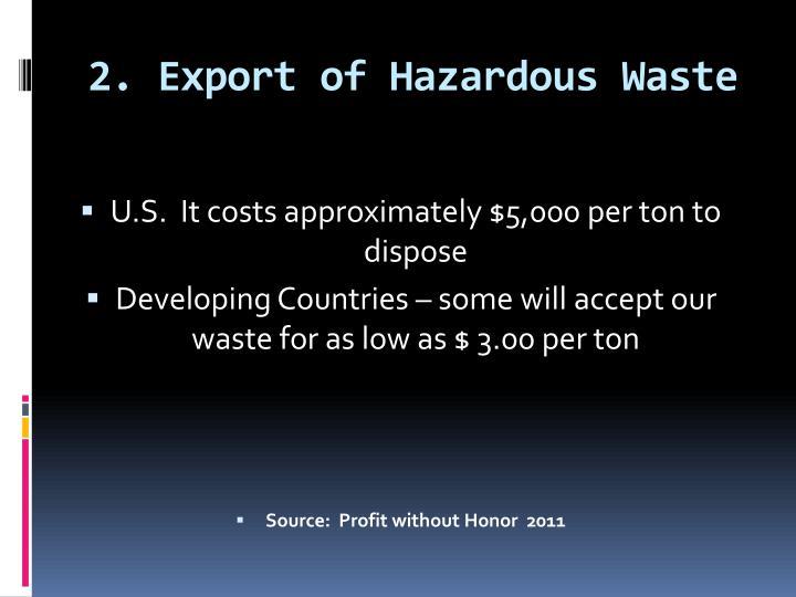 2. Export of Hazardous Waste
