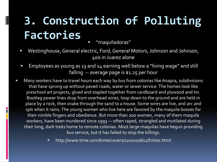 3. Construction of Polluting Factories