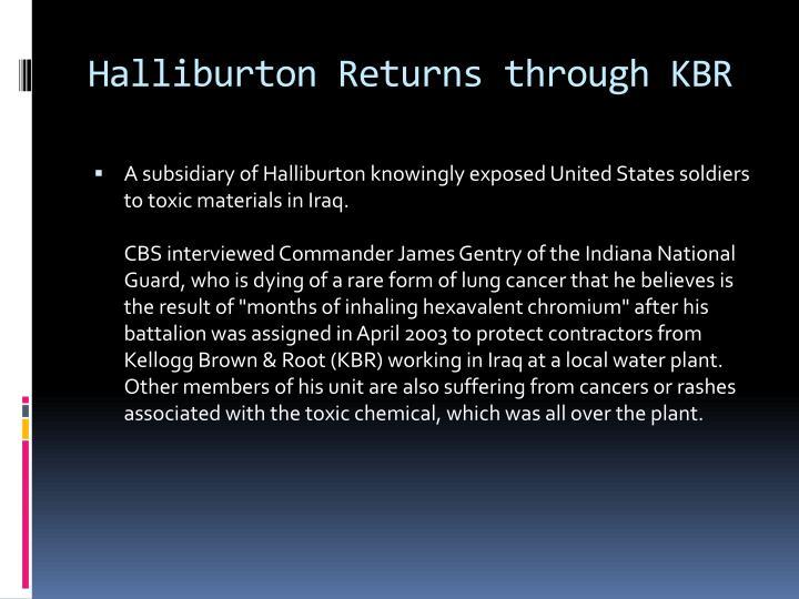 Halliburton Returns through KBR