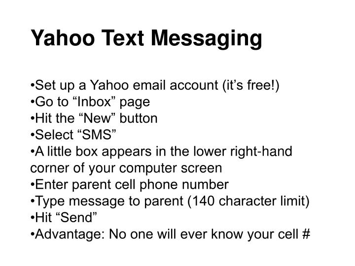 Yahoo Text Messaging