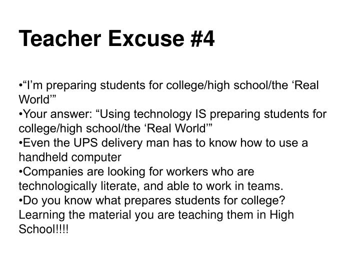 Teacher Excuse #4
