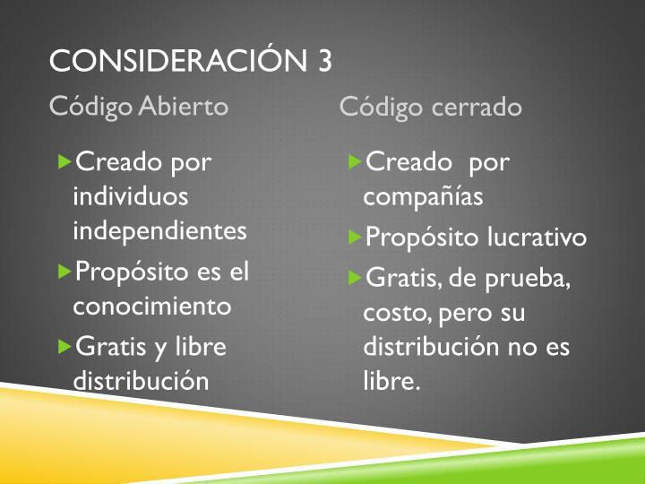 Consideración 3