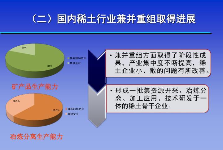 (二)国内稀土行业兼并重组取得进展
