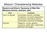 mission characterising websites