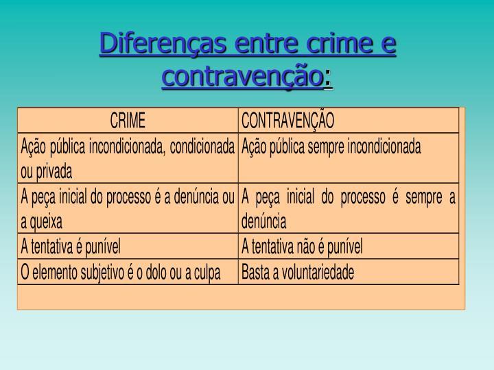 Diferenças entre crime e contravenção
