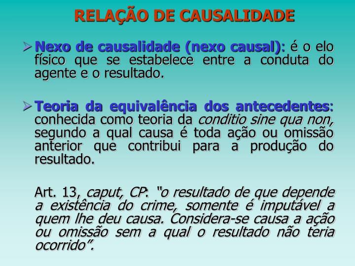 RELAÇÃO DE CAUSALIDADE