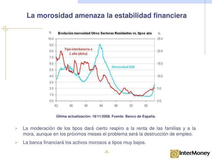 La morosidad amenaza la estabilidad financiera