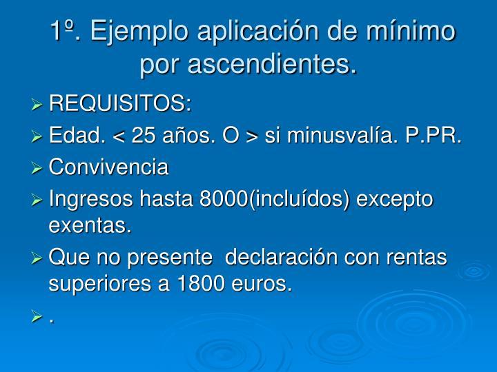 1º. Ejemplo aplicación de mínimo por ascendientes.