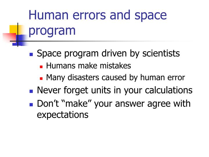 Human errors and space program