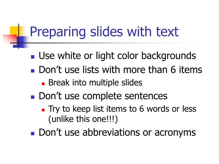 Preparing slides with text