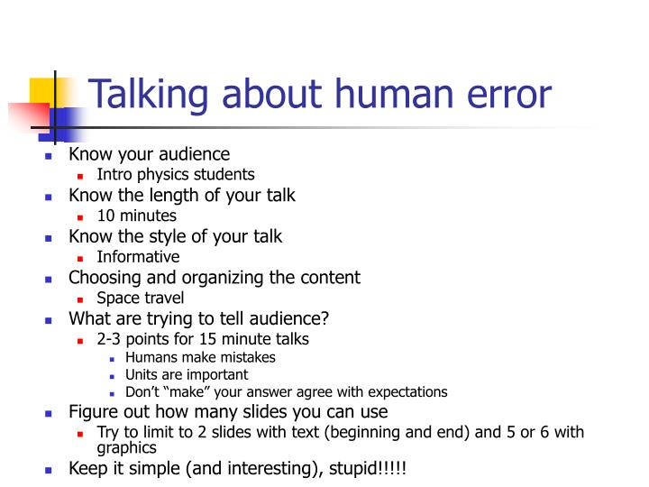 Talking about human error