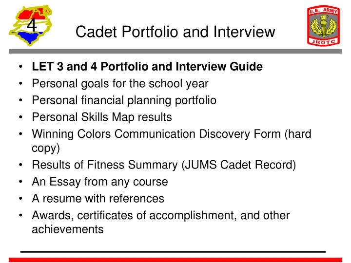 Cadet Portfolio and Interview