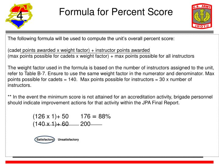 Formula for Percent Score