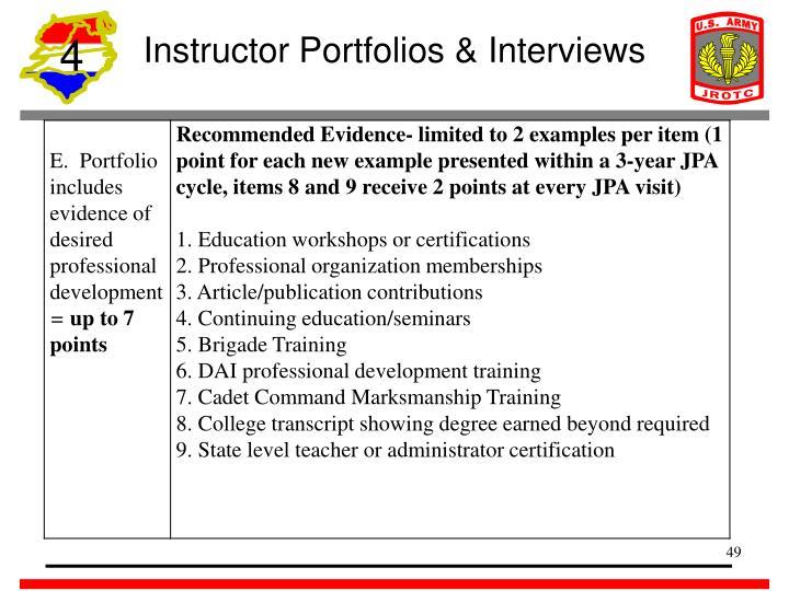 Instructor Portfolios & Interviews