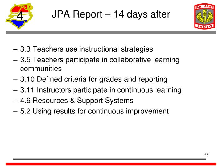 JPA Report – 14 days after