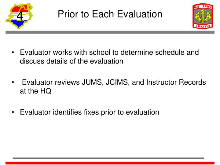 Prior to Each Evaluation