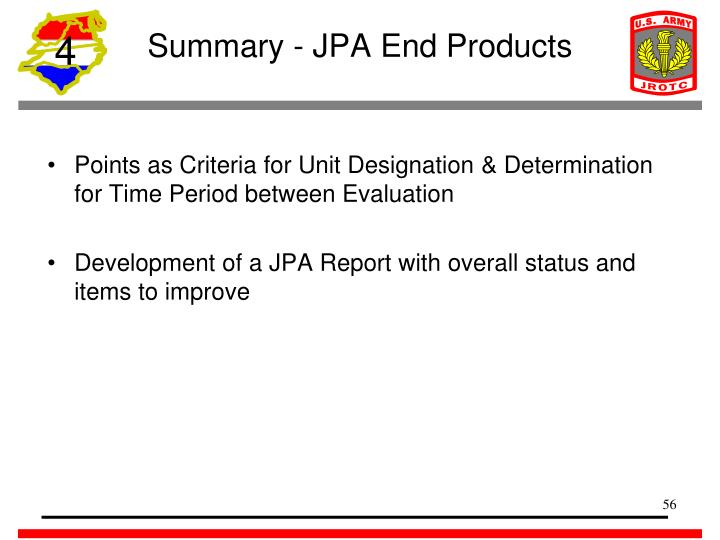 Summary - JPA End Products