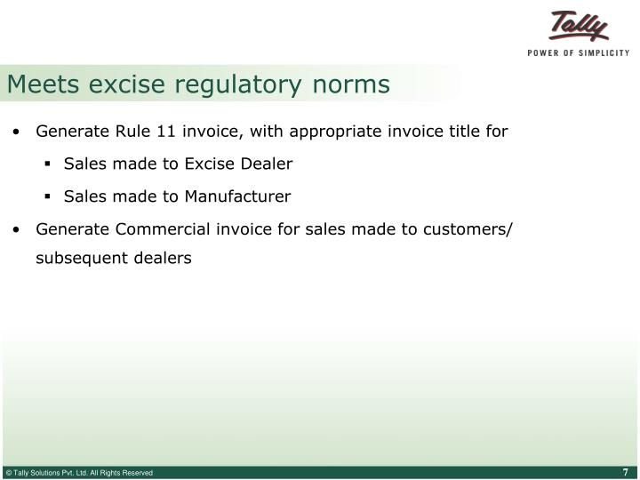 Meets excise regulatory norms