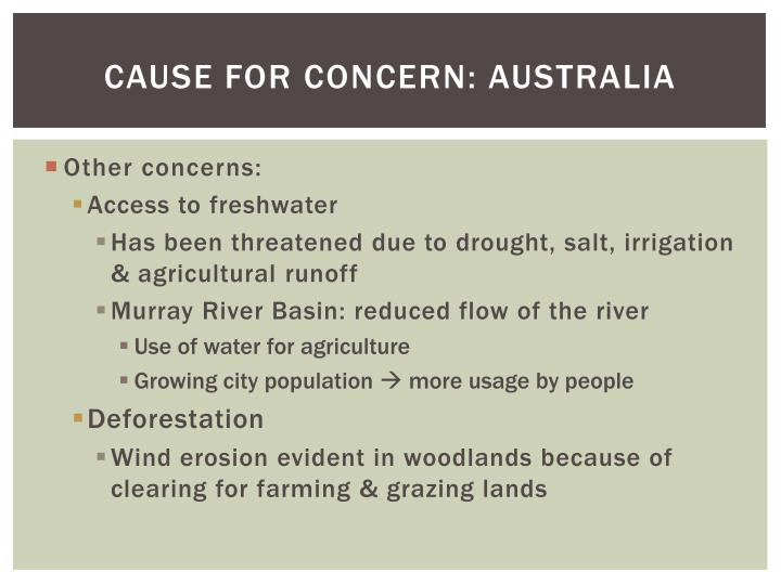 Cause for Concern: Australia